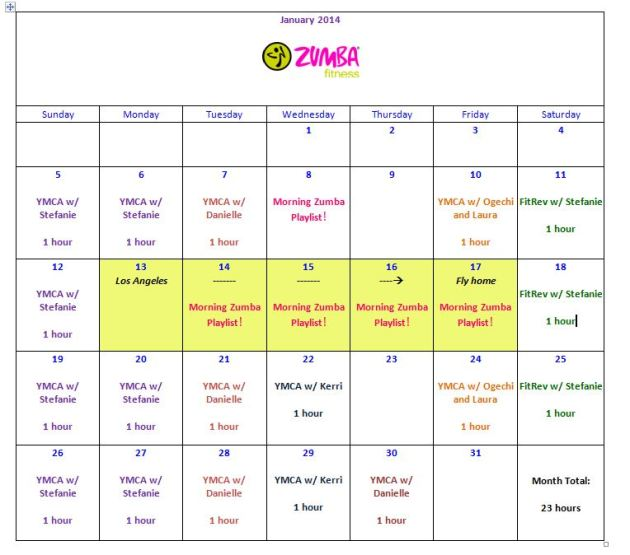 I love color-coding and I like organization. I know I'll be away next week so I'm already accounting for it and planning. Also, Thursday and Friday classes may switch depending on my work busyness!